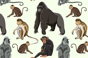Different types of monkeys pattern
