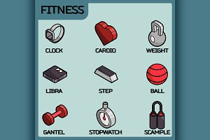 Fitness color isometric icons