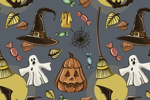 Happy Halloween hand drawn pattern