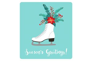 Cute vintage hand drawn rustic floral winter holidays card