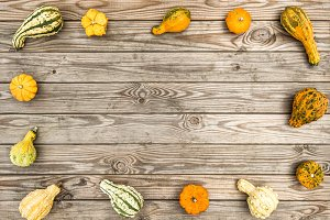 Pumpkin on rustic wooden texture