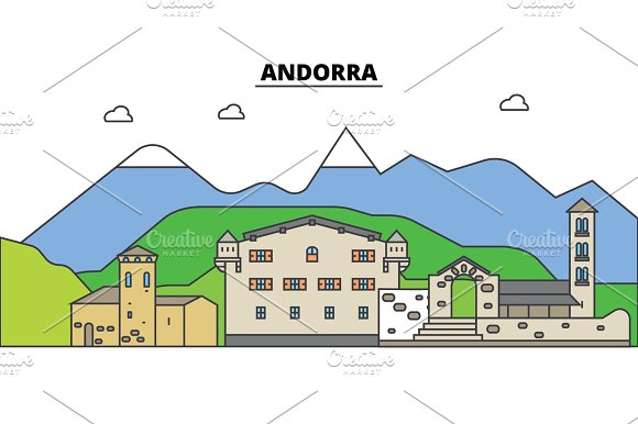 Andorra. City skyline, architecture, buildings, streets, silhouette, landscape, panorama, landmarks. Editable strokes. Flat design line vector illustration concept. Isolated icons set