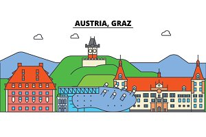 Austria, Graz. City skyline, architecture, buildings, streets, silhouette, landscape, panorama, landmarks. Editable strokes. Flat design line vector illustration concept. Isolated icons set