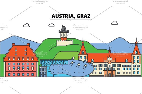 Austria, Graz. City skyline, architecture, buildings, streets, silhouette, landscape, panorama, landmarks. Editable strokes. Flat design line vector illustration concept. Isolated icons set in Illustrations