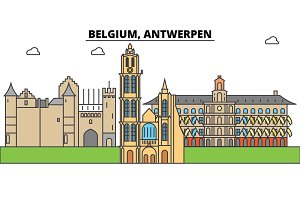 Belgium, Antwerpen. City skyline, architecture, buildings, streets, silhouette, landscape, panorama, landmarks. Editable strokes. Flat design line vector illustration concept. Isolated icons set