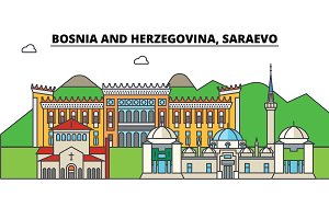 Bosnia And Herzegovina, Saraevo. City skyline, architecture, buildings, streets, silhouette, landscape, panorama, landmarks. Editable strokes. Flat design line vector illustration concept. Isolated icons set
