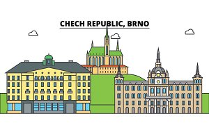 Chech Republic, Brno. City skyline, architecture, buildings, streets, silhouette, landscape, panorama, landmarks. Editable strokes. Flat design line vector illustration concept. Isolated icons set