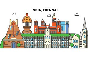 Chennai, India, Hinduism. City skyline, architecture, buildings, streets, silhouette, landscape, panorama, landmarks. Editable strokes. Flat design line vector illustration concept. Isolated icons set