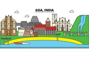 Goa, India, Hinduism. City skyline, architecture, buildings, streets, silhouette, landscape, panorama, landmarks. Editable strokes. Flat design line vector illustration concept. Isolated icons set