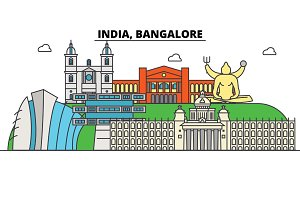 India, Bangalore, Hinduism. City skyline, architecture, buildings, streets, silhouette, landscape, panorama, landmarks. Editable strokes. Flat design line vector illustration concept. Isolated icons set