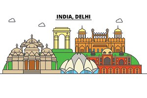 India, Delhi, Hinduism. City skyline, architecture, buildings, streets, silhouette, landscape, panorama, landmarks. Editable strokes. Flat design line vector illustration concept. Isolated icons set