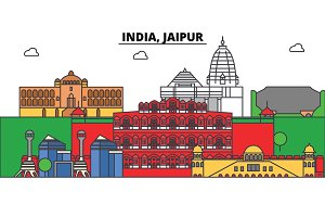 India, Jaipur, Hinduism. City skyline, architecture, buildings, streets, silhouette, landscape, panorama, landmarks. Editable strokes. Flat design line vector illustration concept. Isolated icons set