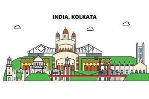 India, Kolkata, Hinduism. City skyline, architecture, buildings, streets, silhouette, landscape, panorama, landmarks. Editable strokes. Flat design line vector illustration concept. Isolated icons set