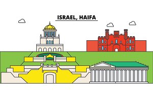 Israel, Haifa. City skyline, architecture, buildings, streets, silhouette, landscape, panorama, landmarks. Editable strokes. Flat design line vector illustration concept. Isolated icons set