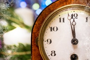 Christmas clock with festive decoration