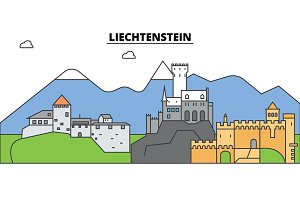 Liechtenstein. City skyline, architecture, buildings, streets, silhouette, landscape, panorama, landmarks. Editable strokes. Flat design line vector illustration concept. Isolated icons set