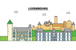 Luxembourg. City skyline, architecture, buildings, streets, silhouette, landscape, panorama, landmarks. Editable strokes. Flat design line vector illustration concept. Isolated icons set