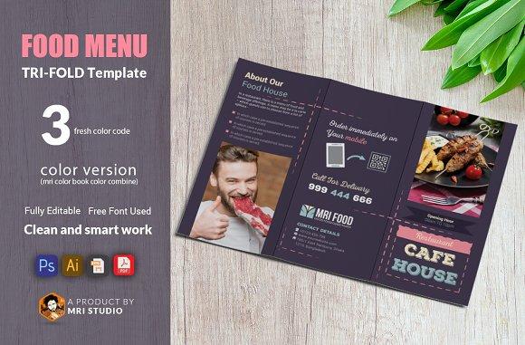 food menu trifold brochure templates creative market