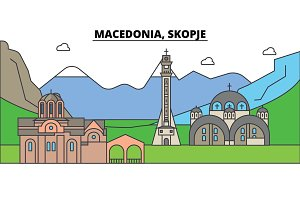 Macedonia, Skopje, mountain. City skyline, architecture, buildings, streets, silhouette, landscape, panorama, landmarks. Editable strokes. Flat design line vector illustration concept. Isolated icons