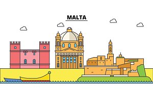 Malta, Mediterranean sea. City skyline, architecture, buildings, streets, silhouette, landscape, panorama, landmarks. Editable strokes. Flat design line vector illustration concept. Isolated icons set