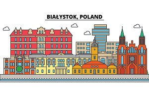 Poland, Bialystok. City skyline, architecture, buildings, streets, silhouette, landscape, panorama, landmarks. Editable strokes. Flat design line vector illustration concept. Isolated icons set