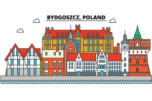 Poland, Bydgoszcz. City skyline, architecture, buildings, streets, silhouette, landscape, panorama, landmarks. Editable strokes. Flat design line vector illustration concept. Isolated icons set
