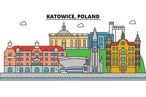 Poland, Katowice. City skyline, architecture, buildings, streets, silhouette, landscape, panorama, landmarks. Editable strokes. Flat design line vector illustration concept. Isolated icons set