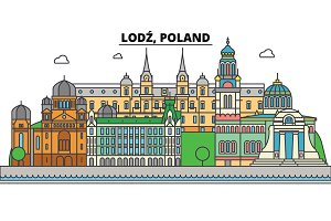 Poland, Lodz. City skyline, architecture, buildings, streets, silhouette, landscape, panorama, landmarks. Editable strokes. Flat design line vector illustration concept. Isolated icons set