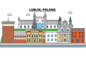 Poland, Lublin. City skyline, architecture, buildings, streets, silhouette, landscape, panorama, landmarks. Editable strokes. Flat design line vector illustration concept. Isolated icons set