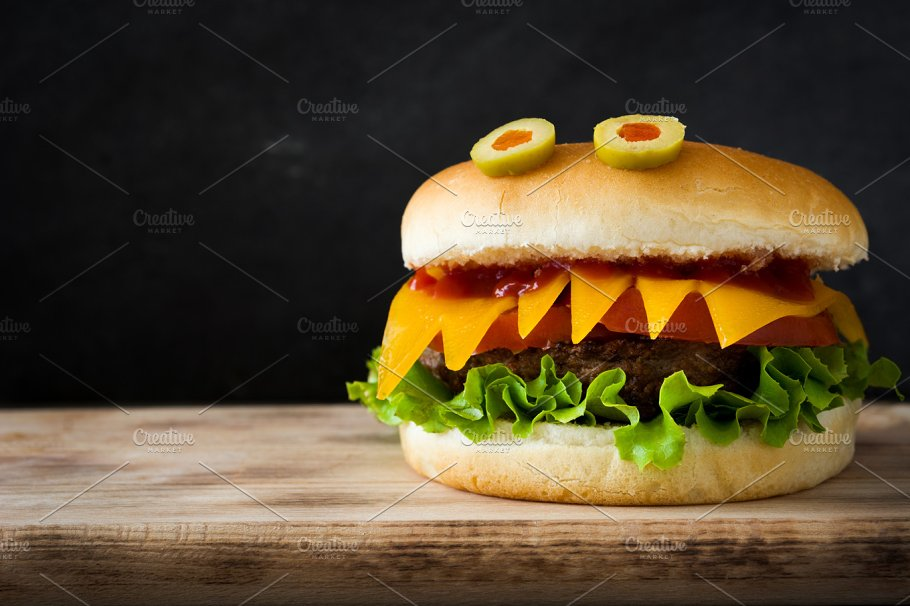 Halloween burger monsters ~ Food & Drink Photos ~ Creative Market
