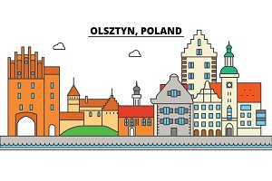 Poland, Olsztyn. City skyline, architecture, buildings, streets, silhouette, landscape, panorama, landmarks. Editable strokes. Flat design line vector illustration concept. Isolated icons set