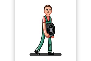 Man carries the tire