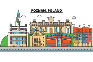 Poland, Poznan. City skyline, architecture, buildings, streets, silhouette, landscape, panorama, landmarks. Editable strokes. Flat design line vector illustration concept. Isolated icons set