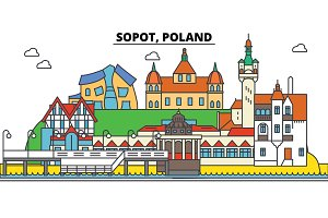 Poland, Sopot. City skyline, architecture, buildings, streets, silhouette, landscape, panorama, landmarks. Editable strokes. Flat design line vector illustration concept. Isolated icons set