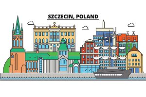 Poland, Szczecin. City skyline, architecture, buildings, streets, silhouette, landscape, panorama, landmarks. Editable strokes. Flat design line vector illustration concept. Isolated icons set