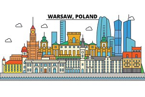 Poland, Warsaw. City skyline, architecture, buildings, streets, silhouette, landscape, panorama, landmarks. Editable strokes. Flat design line vector illustration concept. Isolated icons set