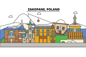 Poland, Zakopane. City skyline, architecture, buildings, streets, silhouette, landscape, panorama, landmarks. Editable strokes. Flat design line vector illustration concept. Isolated icons set