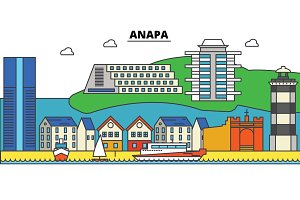 Russia, Anapa, black sea. City skyline, architecture, buildings, streets, silhouette, landscape, panorama, landmarks. Editable strokes. Flat design line vector illustration concept. Isolated icons set