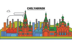 Russia, Chelyabinsk, industry. City skyline, architecture, buildings, streets, silhouette, landscape, panorama, landmarks. Editable strokes. Flat design line vector illustration concept. Isolated icons