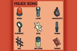 Police color outline isometric icons