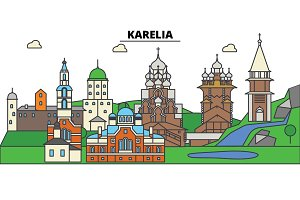 Russia, Karelia, Petrozavodsk. City skyline, architecture, buildings, streets, silhouette, landscape, panorama, landmarks. Editable strokes. Flat design line vector illustration concept. Isolated icons set