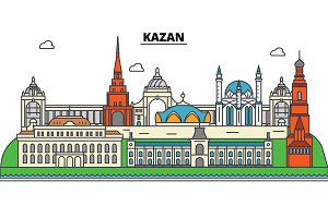 Russia, Kazan. City skyline, architecture, buildings, streets, silhouette, landscape, panorama, landmarks. Editable strokes. Flat design line vector illustration concept. Isolated icons set