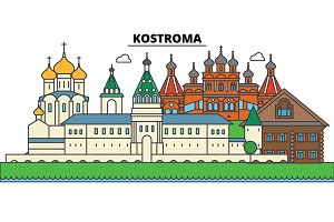 Russia, Kostroma. City skyline, architecture, buildings, streets, silhouette, landscape, panorama, landmarks. Editable strokes. Flat design line vector illustration concept. Isolated icons set