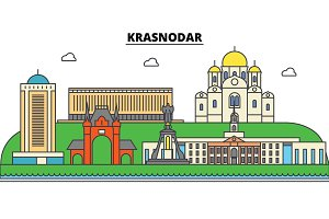 Russia, Kransodar. City skyline, architecture, buildings, streets, silhouette, landscape, panorama, landmarks. Editable strokes. Flat design line vector illustration concept. Isolated icons set