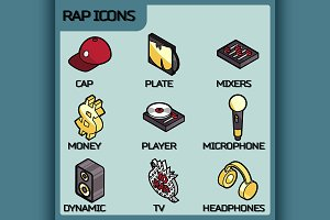 Rap color outline isometric icons