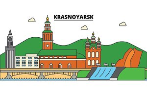 Russia, Krasnoyarsk. City skyline, architecture, buildings, streets, silhouette, landscape, panorama, landmarks. Editable strokes. Flat design line vector illustration concept. Isolated icons set