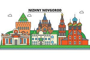 Russia, Nizhny Novgorod. City skyline, architecture, buildings, streets, silhouette, landscape, panorama, landmarks. Editable strokes. Flat design line vector illustration concept. Isolated icons set