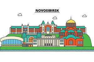 Russia, Novosibirsk. City skyline, architecture, buildings, streets, silhouette, landscape, panorama, landmarks. Editable strokes. Flat design line vector illustration concept. Isolated icons set