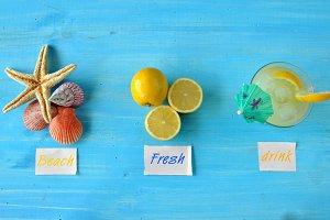 Fresh lemonade with starfish and sea