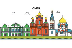 Russia, Omsk. City skyline, architecture, buildings, streets, silhouette, landscape, panorama, landmarks. Editable strokes. Flat design line vector illustration concept. Isolated icons set